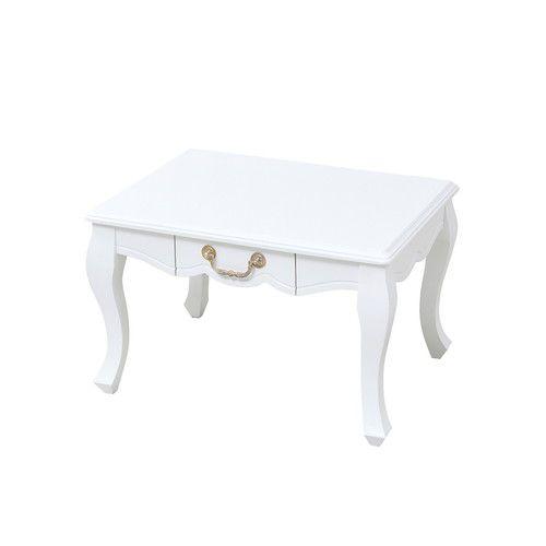 センターテーブル ローテーブル おしゃれ 北欧 アンティーク 姫系 木製 リビングテーブル コーヒーテーブル 応接テーブル 60×45