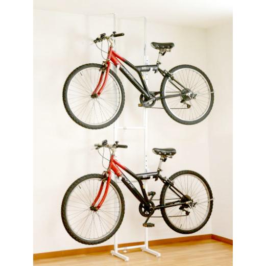 つっぱり 屋内 室内 自転車ラック ホワイト 自転車置き フック 自転車掛け