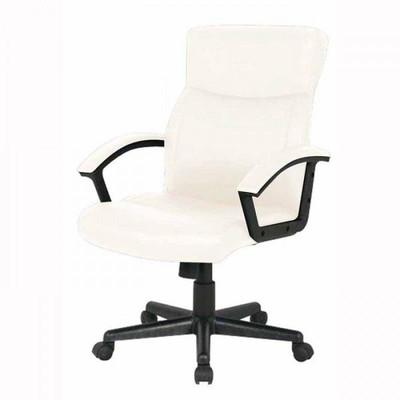 レザー キャスター付き椅子 キャスター オフィスチェア 事務椅子 デスクチェア 椅子 チェア アイボリー ホワイト 肘付き椅子 肘掛け椅子 肘置き 肘付 肘掛