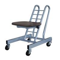 高さ調節 昇降 低姿勢 立ち仕事 中腰 作業 椅子 ダークブラウン/シルバー 日本製 完成品 キャスター ( オフィスチェア 低い 低い椅子 キャスター付き椅子