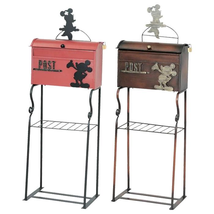 郵便ポスト ポスト 郵便受け 玄関 設置 屋外用 おしゃれ 鍵付き 置き型 スタンド 自立 ディズニー ミッキー アンティーク 北欧 アメリカン ブラウン