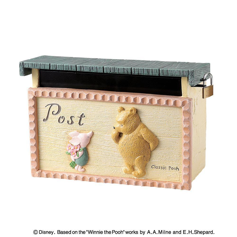 郵便ポスト ポスト 郵便受け 玄関 設置 屋外用 おしゃれ 壁掛け 壁面取付 鍵付き プーさん ディズニー アンティーク 北欧 アメリカン 新聞受け
