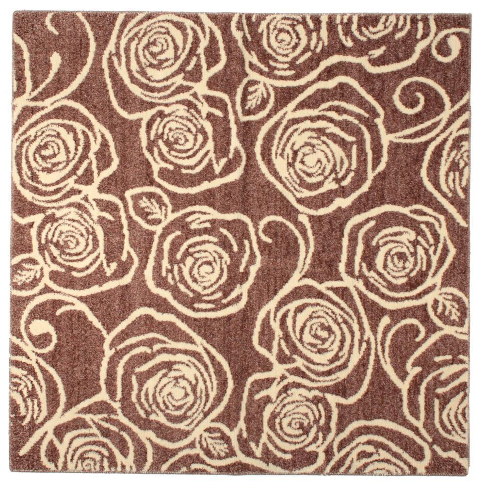 ラグ カーペット おしゃれ ラグマット 絨毯 花柄 じゅうたん マット 厚手 極厚 北欧 安い ふかふか ふわふわ 185×185 3畳 ブラウン