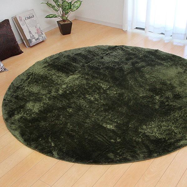 ラグ カーペット おしゃれ ラグマット 絨毯 丸型 北欧 シャギーラグ シャギー マット 厚手 極厚 安い 洗える 滑り止め 床暖房 185 丸 円 円形 3畳 グリーン