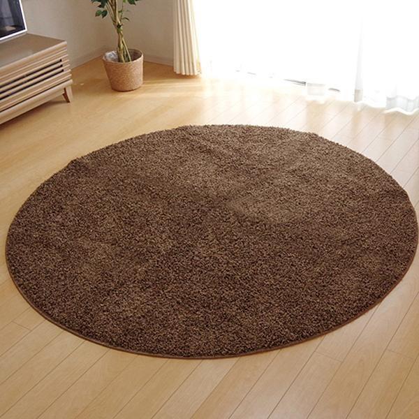 ラグ カーペット おしゃれ ラグマット 絨毯 丸型 北欧 シャギーラグ シャギー マット 厚手 安い 床暖房 床暖房対応 180 丸 円 円形 3畳 ベージュ
