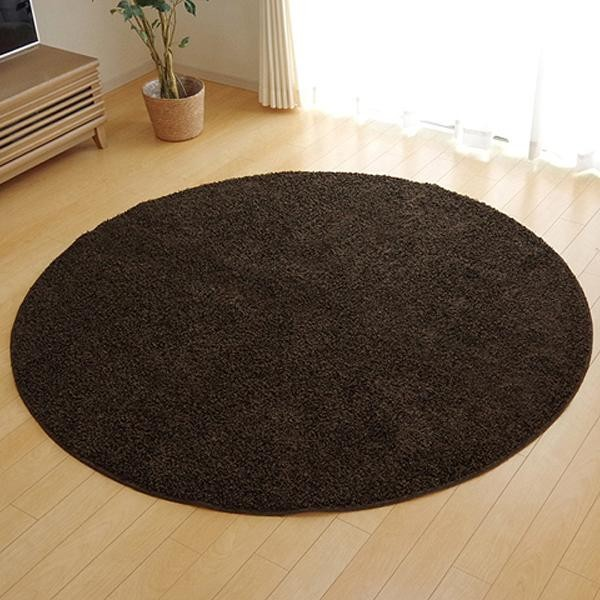 ラグ カーペット おしゃれ ラグマット 絨毯 丸型 北欧 シャギーラグ シャギー マット 厚手 安い 床暖房 床暖房対応 180 丸 円 円形 3畳 ブラウン