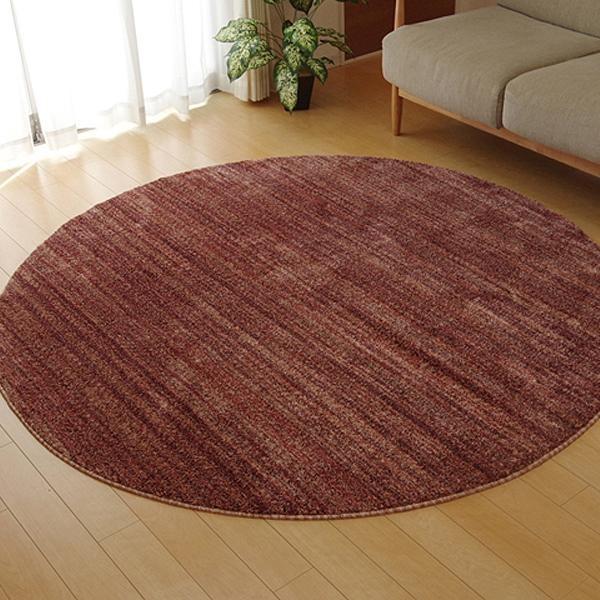 ラグ カーペット おしゃれ ラグマット 絨毯 丸型 北欧 マット 厚手 極厚 安い 床暖房 床暖房対応 ホットカーペット対応 180 丸 円 円形 3畳 レッド
