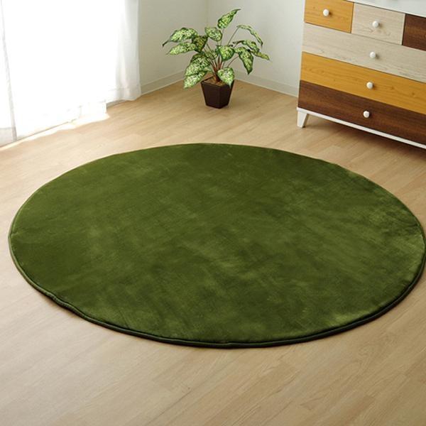 ラグ ラグマット ダイニングラグ マット 絨毯 じゅうたん 厚手 おしゃれ 北欧 安い フランネル フランネルラグ 低反発 床暖房 185 丸型 丸 円 円形 3畳 グリーン