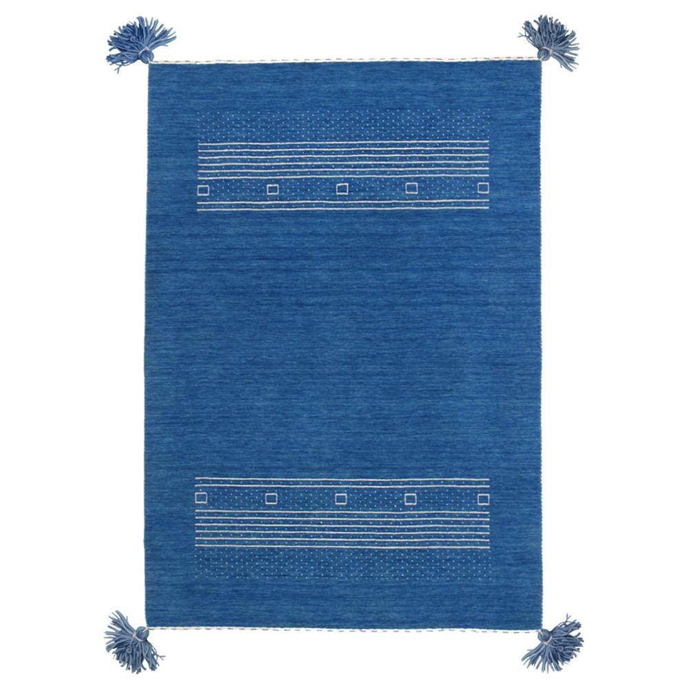 ギャッベ ギャベ 玄関マット 室内 屋内 おしゃれ 北欧 北欧風 ラグ ラグマット カーペット 小さい 小さめ ウール オールシーズン 60×90 ブルー