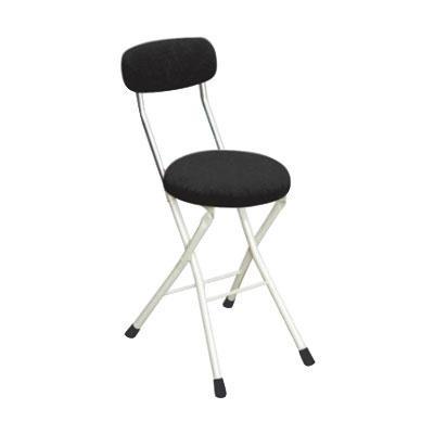 パイプ椅子 折りたたみ 会議椅子 チェア イス いす スツール オフィスチェア 事務椅子 椅子 パソコンチェア デスクチェア pc 丸 クッションチェア ブラック/アイボリー 48