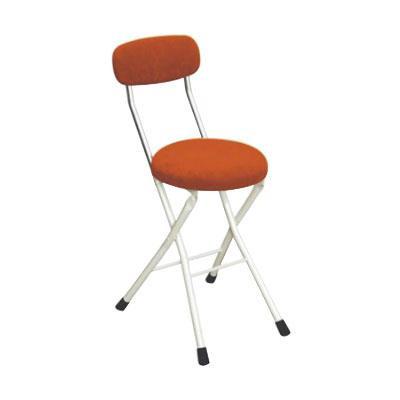 パイプ椅子 折りたたみ 会議椅子 チェア イス いす スツール オフィスチェア 事務椅子 椅子 パソコンチェア デスクチェア pc 丸 クッションチェア オレンジ/アイボリー 48