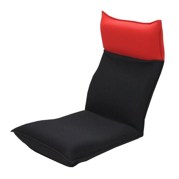 座椅子 リクライニングチェア 低い 椅子 一人暮らし コンパクト ローチェア こたつ おしゃれ 1人掛け 一人掛け ヘッドレスト メッシュ レッド×ブラック