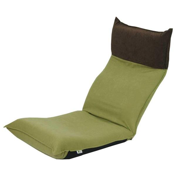 座椅子 リクライニングチェア 低い 椅子 一人暮らし コンパクト ローチェア こたつ おしゃれ 1人掛け 一人掛け ヘッドレスト モダン グリーン×ダークブラウン