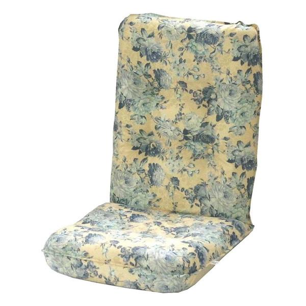 座椅子 リクライニングチェア 低い 椅子 一人暮らし コンパクト ローチェア こたつ おしゃれ 1人掛け 一人掛け ジャガード ブルー
