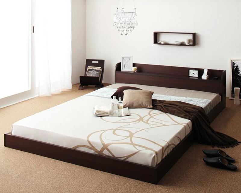 ベッド 安い セミダブル セミダブルベッド セミダブルサイズ ローベッド 低いベッド 低い 棚 コンセント付き ( マルチラスSS マットレス付き ) ダークブラウン