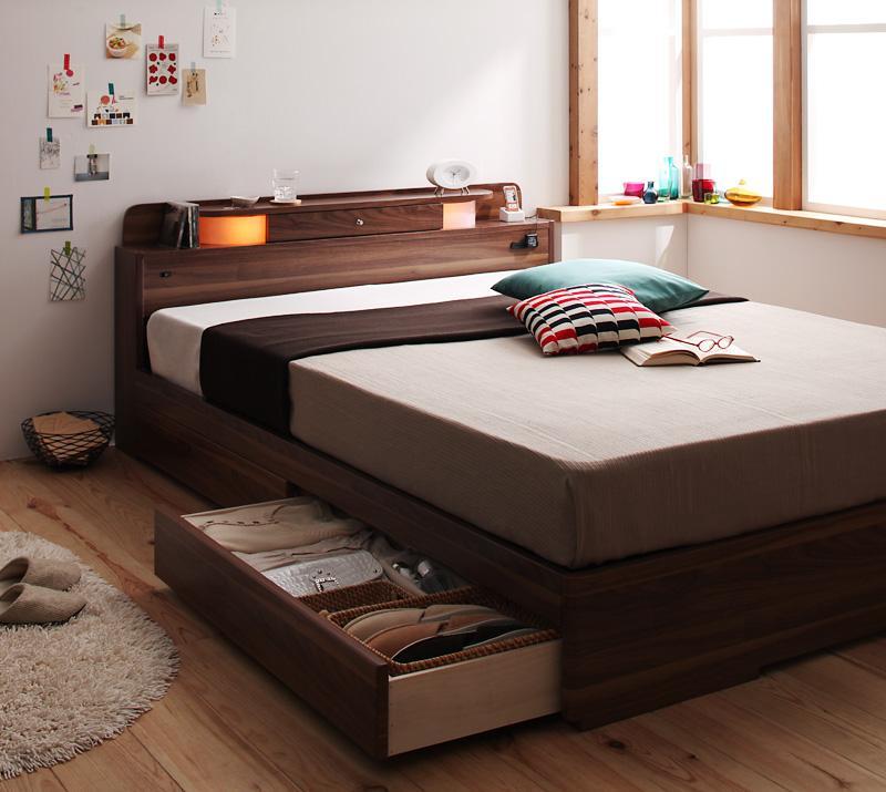 ベッド ベット 安い ダブル ダブルベッド ダブルベット ダブルサイズ ライト コンセント付き 収納付き ( ブラック 黒 )