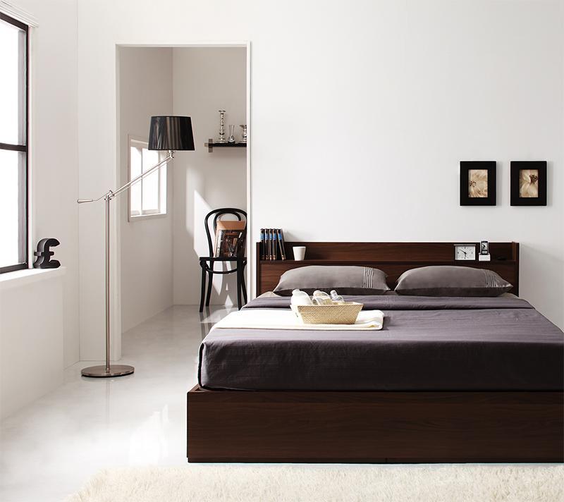 ベッド 安い セミダブル セミダブルベッド セミダブルサイズ コンセント付き 収納付き ( マルチラスSS マットレス付き ) ダークブラウン