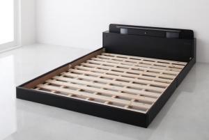 ベッド 安い セミダブル セミダブルベッド セミダブルサイズ ローベッド 低いベッド 低い ライト 宮付き 棚 コンセント付き ( フレームのみ ) ブラック 黒