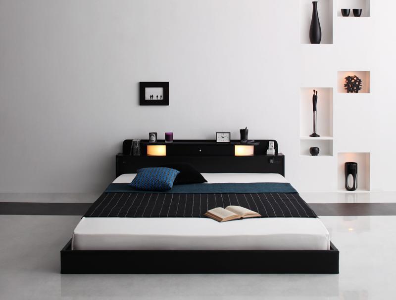 ベッド 安い シングル シングルベッド シングルサイズ ローベッド 低いベッド 低い ライト 棚 コンセント付き ( マルチラスSS マットレス付き ) ブラック 黒