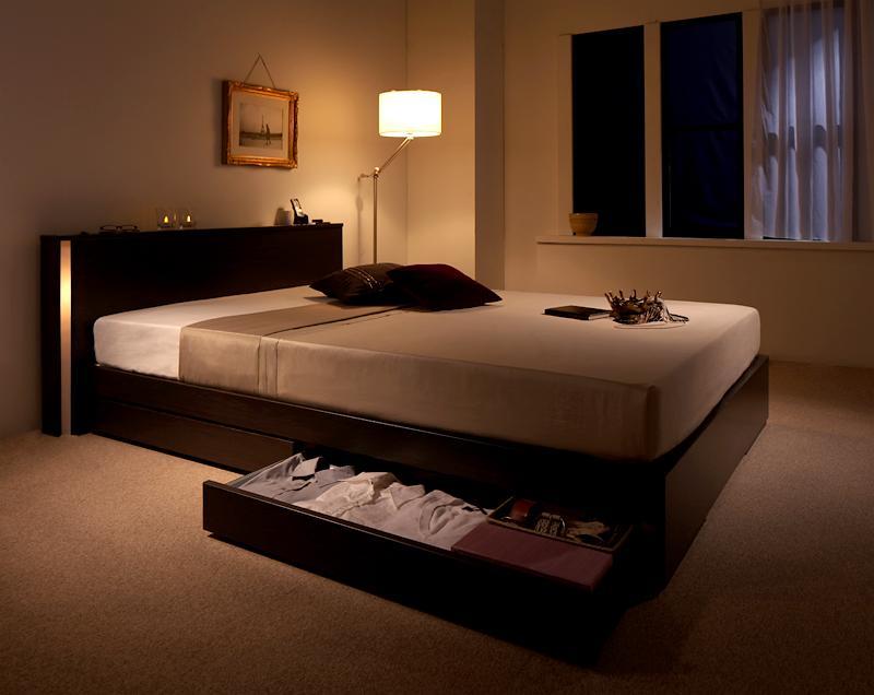 ベッド ベット 安い シングル シングルベッド シングルベット シングルサイズ 収納付き ライト コンセント付き 付き 宮付き 棚 ( マルチラスSS マットレス付き ) ダークブラウン