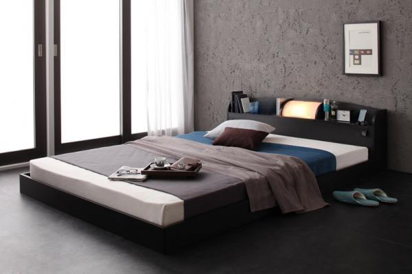 ベッド ベット 安い ダブル ダブルベッド ダブルベット ダブルサイズ ライト コンセント付き ( マルチラスSS マットレス付き ) ブラック 黒