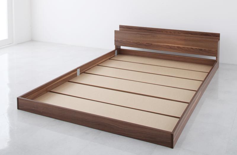 ベッド ベット 安い ダブル ダブルベッド ダブルベット ダブルサイズ 棚 コンセント付き ( フレームのみ ) ウォルナット ブラウン