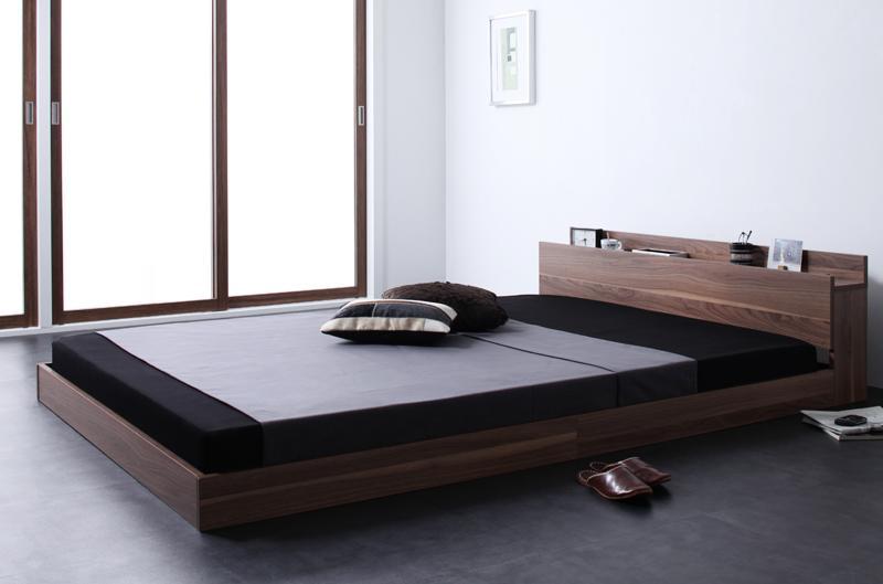 ベッド ベット 安い ダブル ダブルベッド ダブルベット ダブルサイズ 棚 コンセント付き ( ポケット マットレス付き / ハード ) ウォルナット ブラウン