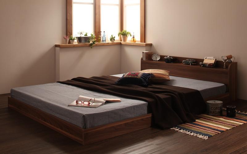 ベッド ベット 安い ダブル ダブルベッド ダブルベット ダブルサイズ 棚 コンセント付き ( 日本製 ポケット マットレス付き ) オークホワイト(ナチュラル)