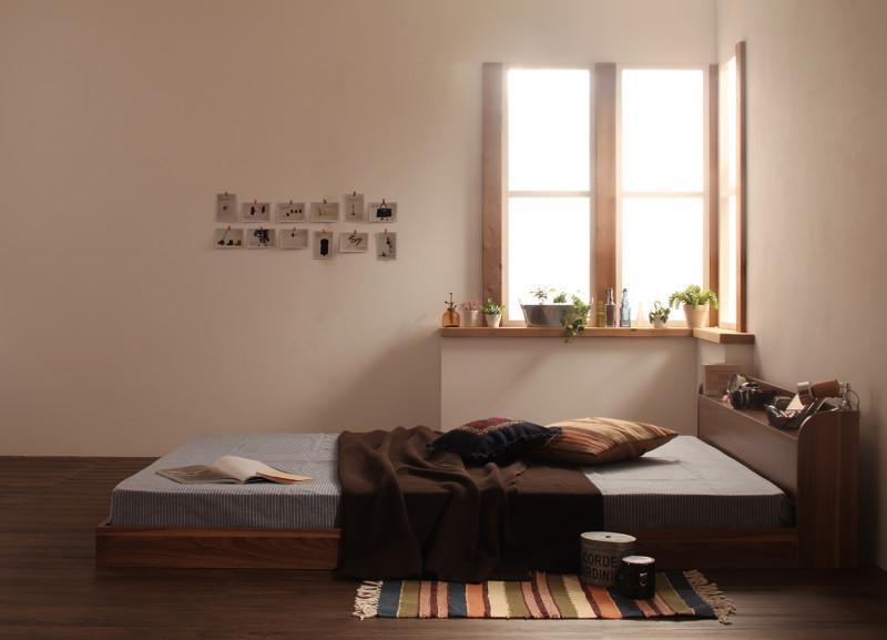 ベッド ベット 安い セミダブル セミダブルベッド セミダブルベット セミダブルサイズ 棚 コンセント付き ( マルチラスSS マットレス付き ) ウォルナット ブラウン