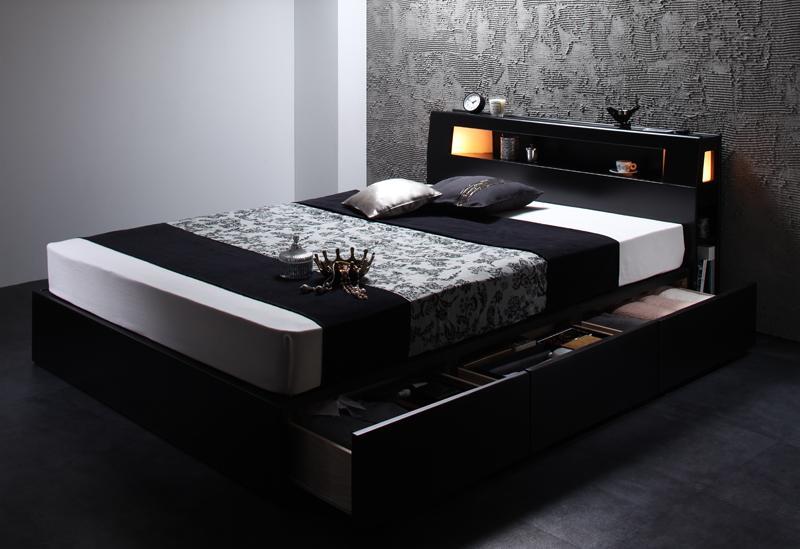 ベッド ベット 安い シングル シングルベッド シングルベット シングルサイズ ライト コンセント付き 収納付き ( ボンネル マットレス付き / ハード ) ブラック 黒