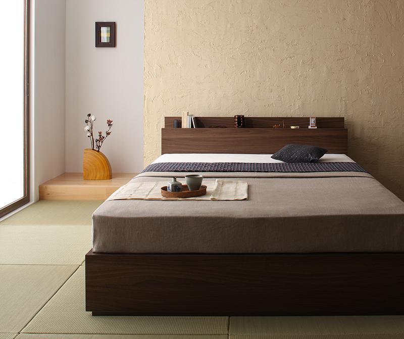 ベッド ベット 安い セミダブル セミダブルベッド セミダブルベット セミダブルサイズ 棚 コンセント付き 収納付き ( 日本製 ポケット マットレス付き ) ウォルナット ブラウン