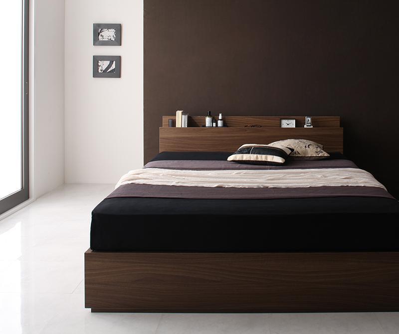 ベッド ベット 安い シングル シングルベッド シングルベット シングルサイズ 棚 コンセント付き 収納付き ( マルチラスSS マットレス付き ) ウォルナット ブラウン