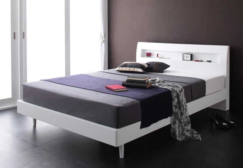 ベッド ベット 安い ダブル ダブルベッド ダブルベット ダブルサイズ 棚 コンセント付き すのこベッド ( ポケット マットレス付き / ハード ) ホワイト 白