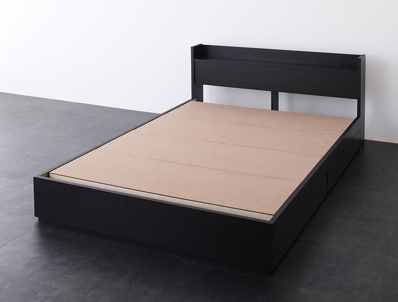 ベッド ベット 安い ダブル ダブルベッド ダブルベット ダブルサイズ 棚 コンセント付き 収納付き ( フレームのみ ) ブラック 黒