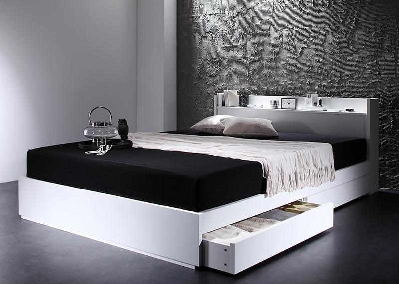ベッド ベット 安い セミダブル セミダブルベッド セミダブルベット セミダブルサイズ 棚 コンセント付き 収納付き ( ポケット マットレス付き / ハード ) ブラック 黒
