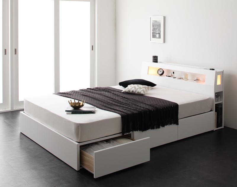 ベッド ベット 安い シングル シングルベッド シングルベット シングルサイズ ライト コンセント付き 収納付き ( マルチラスSS マットレス付き ) ホワイト 白