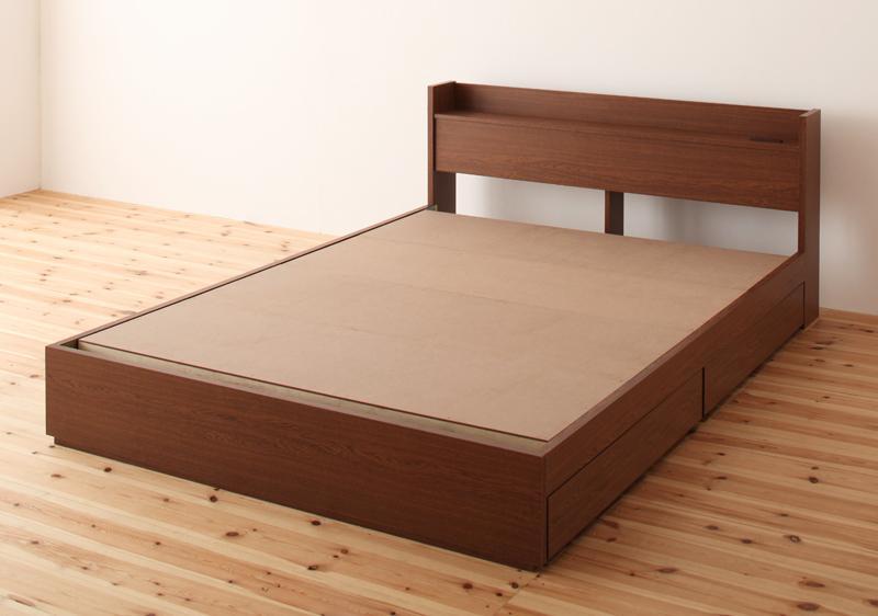 ベッド ベット 安い セミダブル セミダブルベッド セミダブルベット セミダブルサイズ 棚 コンセント付き 収納付き ( フレームのみ ) ブラウン