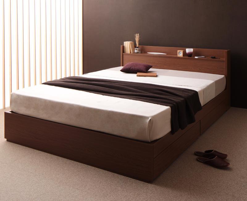 ベッド ベット 安い ダブル ダブルベッド ダブルベット ダブルサイズ 棚 コンセント付き 収納付き ( 日本製 ポケット マットレス付き ) ブラウン