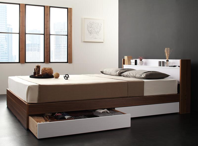 ベッド ベット 安い ダブル ダブルベッド ダブルベット ダブルサイズ 棚 コンセント付き 収納付き ( ボンネル マットレス付き / ハード ) ウォルナット×ホワイト 白
