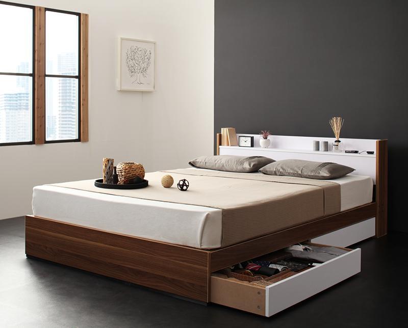 ベッド ベット 安い セミダブル セミダブルベッド セミダブルベット セミダブルサイズ 棚 コンセント付き 収納付き ( マルチラスSS マットレス付き ) ウォルナット×ホワイト 白