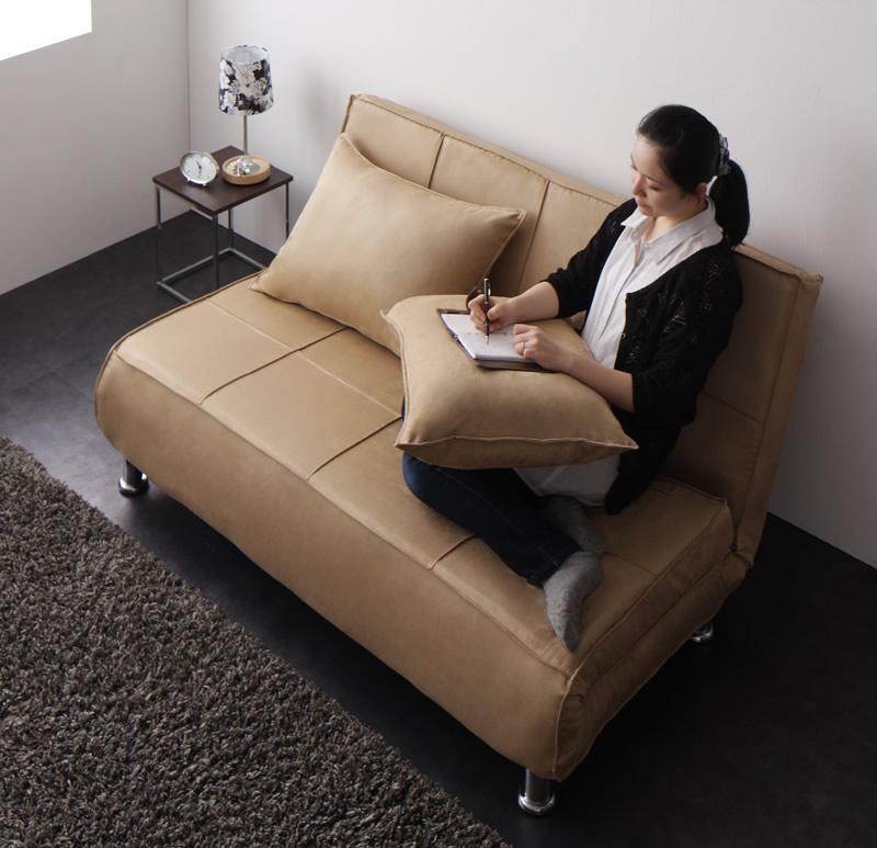 ソファー ソファ 2人掛け 二人掛け 2人用 二人用 おしゃれ 布 ファブリック 北欧 リビング ソファーベッド ソファベッド 一人暮らし 座椅子 ローソファ リクライニング ハイバック カバー付き  ( カバーカウチソファベッド アイボリー )