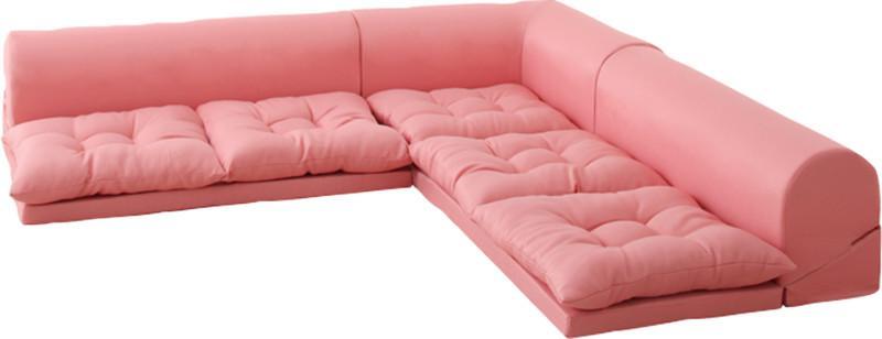 コーナーソファ コーナーソファー L字 l字型 l型 4人 四人 5人 五人 おしゃれ 布 ファブリック 北欧 カフェ リビング 座椅子 ローソファ こたつ  ( B ピンク )