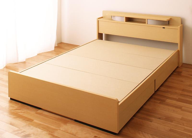ベッド ベット 安い ダブル ダブルベッド ダブルベット ダブルサイズ ライト 棚 宮 収納付き ( フレームのみ ) ブラウン