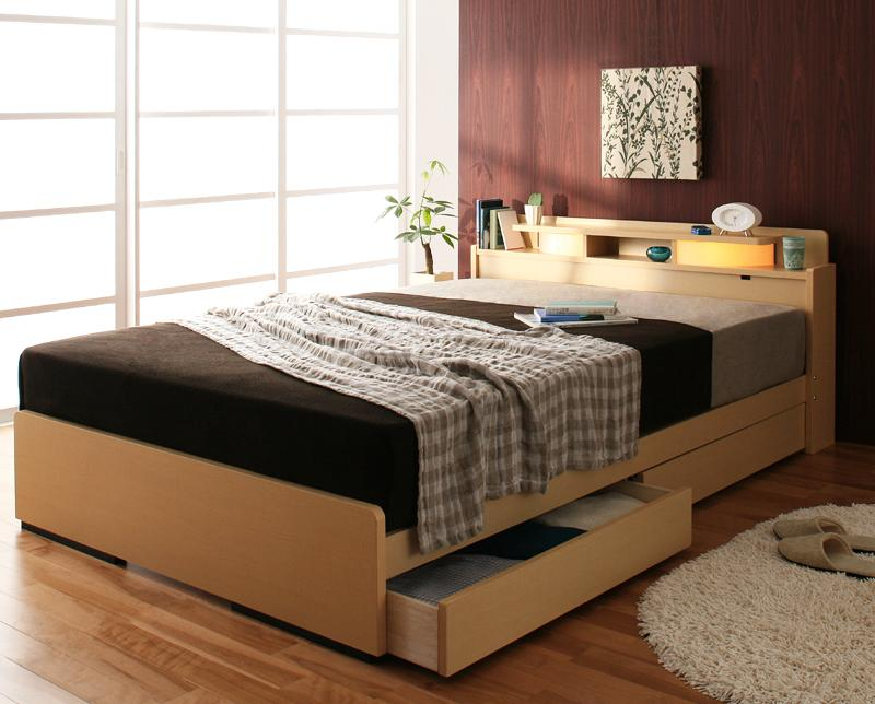 ベッド ベット 安い ダブル ダブルベッド ダブルベット ダブルサイズ ライト 棚 宮 収納付き ( 日本製 ポケット マットレス付き ) ブラウン