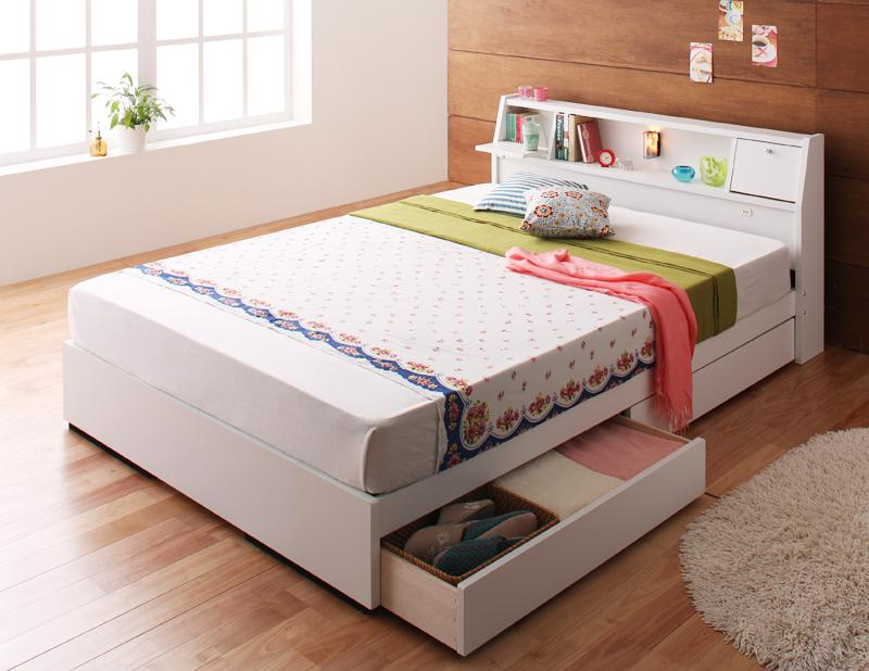 ベッド ベット 安い ダブル ダブルベッド ダブルベット ダブルサイズ ライト コンセント付き 収納付き ( ボンネル マットレス付き 付 ) ホワイト 白