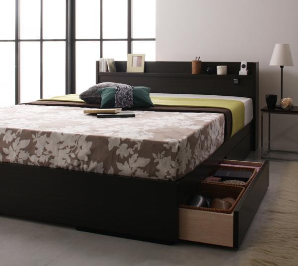 ベッド ベット 安い ダブル ダブルベッド ダブルベット ダブルサイズ コンセント付き 収納付き ( ポケット マットレス付き )