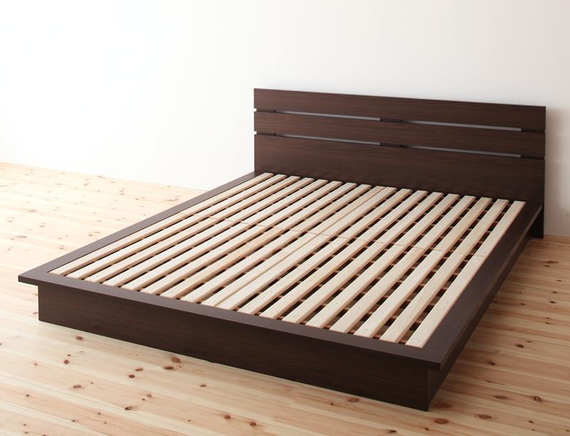 ベッド クイーン ローベッド ロータイプ 低い フロアベッド 低床 フレーム フラット ヘッドボード 薄型 板 北欧 おしゃれ モダン ヴィンテージ メンズ 土台 すのこ