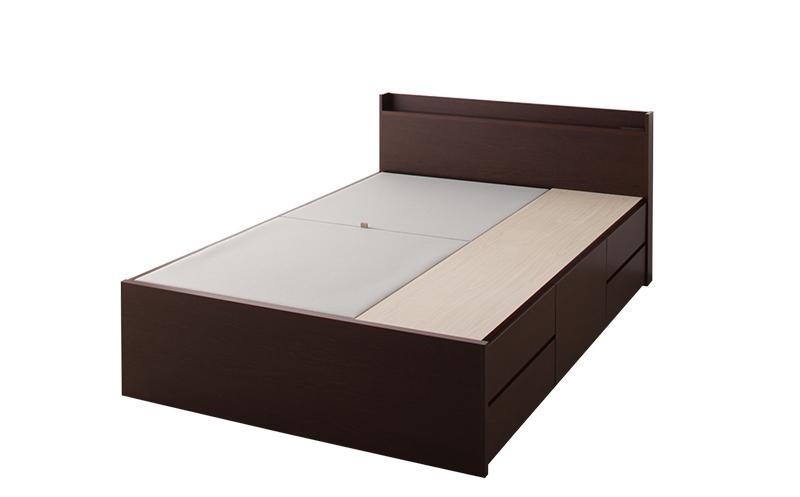 ベッド ベット 安い セミダブル セミダブルベッド セミダブルベット セミダブルサイズ 棚 コンセント付き 収納付き ( フレームのみ ) ダークブラウン