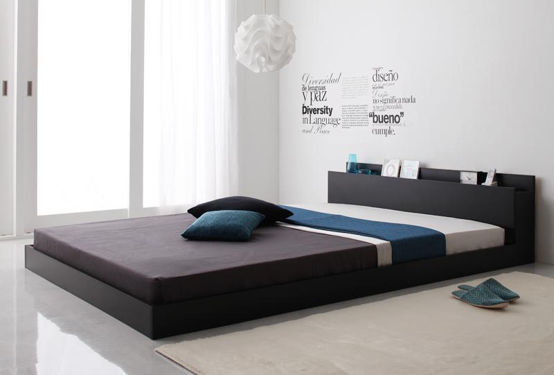 ベッド 安い ダブル ダブルベッド ダブルサイズ 棚 コンセント付き ( ポケット / レギュラー ) ブラック 黒 マットレス付き アイボリー