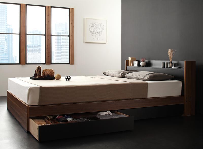 ベッド ベット 安い ダブル ダブルベッド ダブルベット ダブルサイズ 棚 コンセント付き 収納付き ( ポケット マットレス付き / レギュラー ) ウォルナット×ブラック 黒 アイボリー